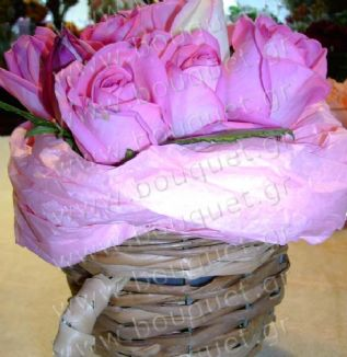Roses in a small basket
